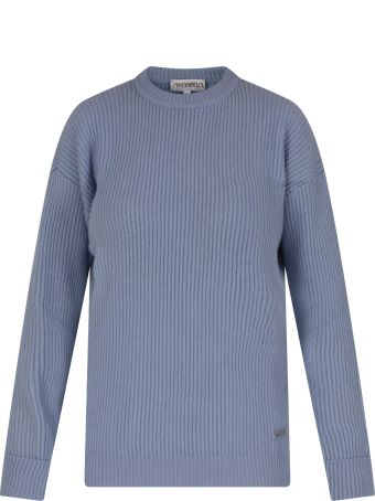 Simonetta Light Blue Sweater For Girl With Logo