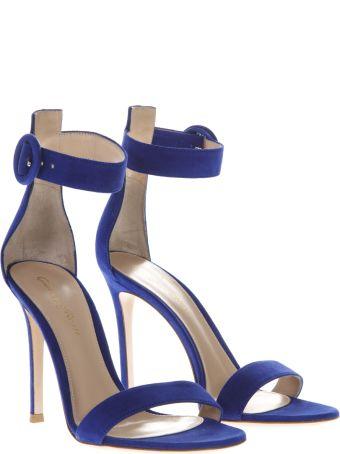 Gianvito Rossi Portofino Blue Suede Sandals