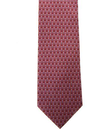 Salvatore Ferragamo Red Silk Gancini Printed Tie