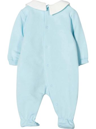 Moschino Blue Romper With Frontal Toy Press