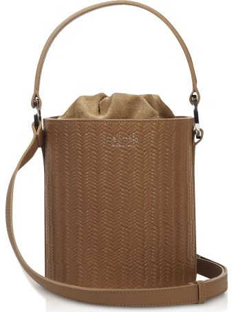 Meli Melo Light Tan Woven Santina Mini Bucket Bag