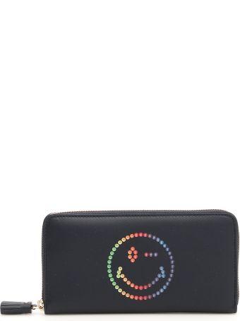 Anya Hindmarch Zip-around Wallet With Multicolor Smiley