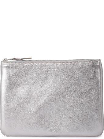 Comme des Garçons Wallet Silver Leather Pochette