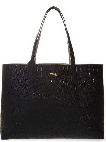 Bally Rory Black & Nude Leather Reversible Holed Bag