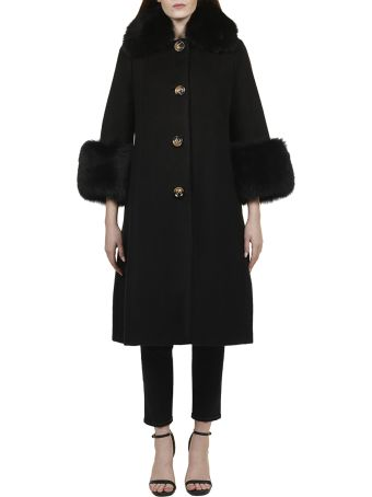 Saks Potts Fur Trim Coat