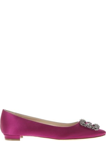 Manolo Blahnik Pink Satin Jewel Buckled Flats