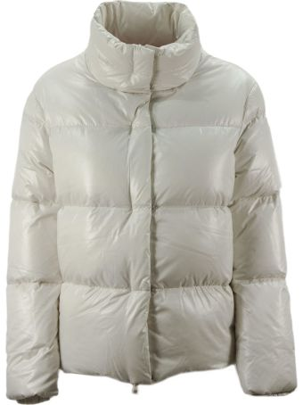 Duvetica Alane White Shiny Nylon Down Jacket.