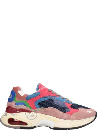 Premiata Pink And Blu Suede And Fabric Sharky Sneakers