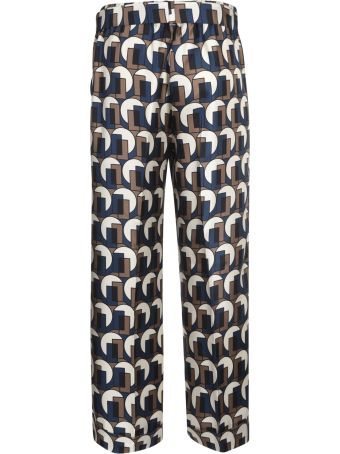 Max Mara The Cube Bow Tied Waist Printed Trousers