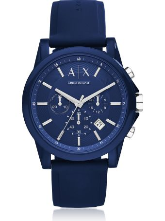 Armani Collezioni Armani Exchange Outerbanks Blue Silicone Men's Chronograph Watch
