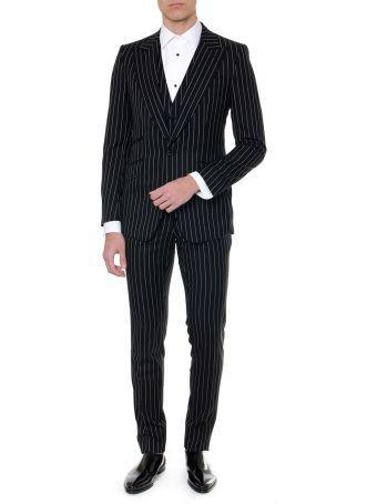 Dolce & Gabbana Sicily Black Wool Pin Striped Suit