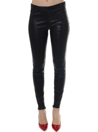 Saint Laurent Black Lambskin Leather Leggins