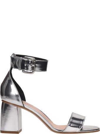 RED Valentino Silver Patent Leather Sandals