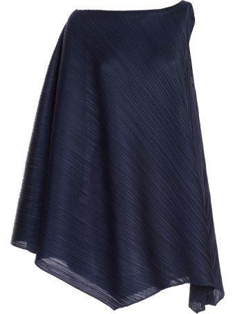 Pleats Please Issey Miyake Pleats Please By Issey Miyake Flared One-shoulder Dress