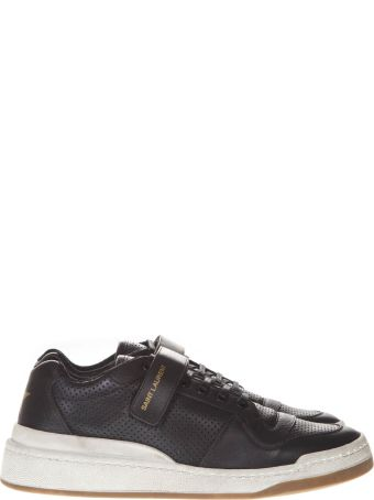 Saint Laurent Sl24 Used Effect Black Leather Sneakers