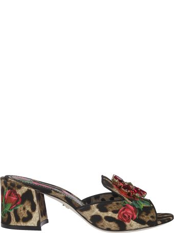 Dolce & Gabbana Leopard And Rose Print Sandals