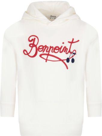 Bonpoint Ivory Sweatshirt For Girl With Logo