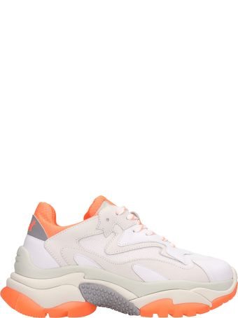 Ash Addict Trainers White Orange Leather And Mesh