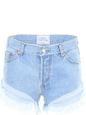 Forte Couture Zig Zag Denim Shorts