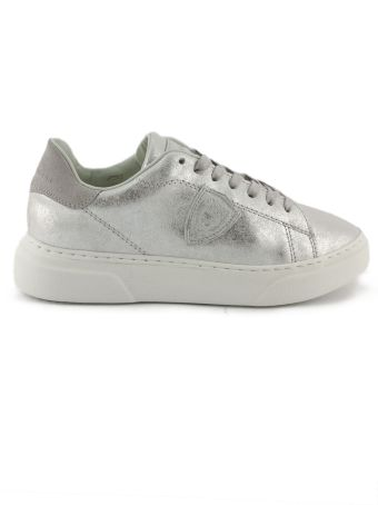 Philippe Model Silver-tone Leather Temple Femme Sneaker
