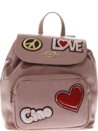 Love Moschino Pink Faux Leather Backpack