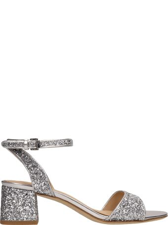 Ash Iris Silver Glitter Sandals Ankle Strap