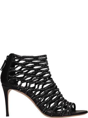 Casadei Crystals Net Black Suede Sandals