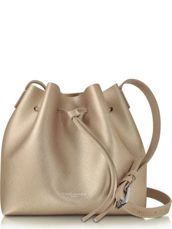 Lancaster Paris Pur & Element Champagne Pink Saffiano Leather Bucket Bag
