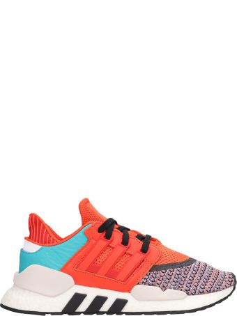 Adidas Orange-multi-colored Fabric And Rubber Eqt Support Sneakers