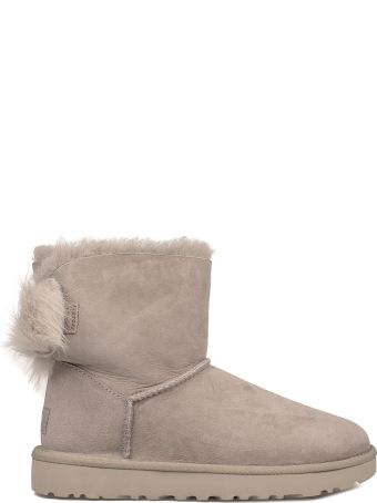 UGG Gray Fluff Bow Mini Low Boot