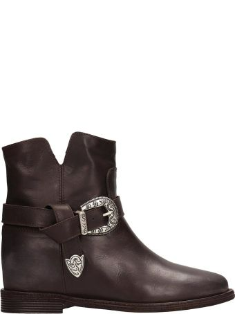 Via Roma 15 Browne Leather Ankle Boots