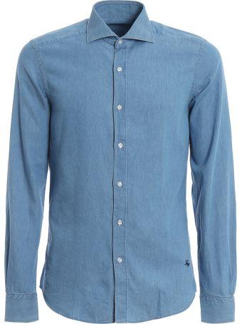 Fay Denim Spread Collar Shirt