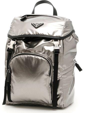 Prada Metallic Nylon Backpack