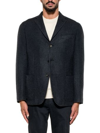 The Gigi Blue/black Pied De Poule Wool Blazer