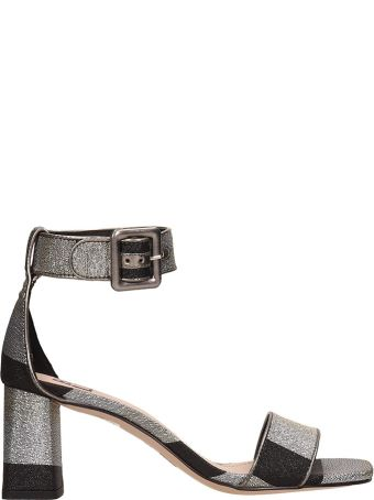 Bibi Lou Silver-black Canvas Sandals