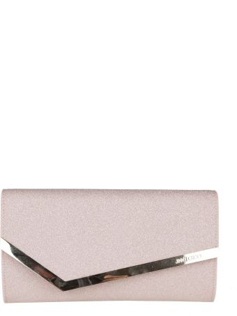 Jimmy Choo Cluth In Leather Glitter Color Pink