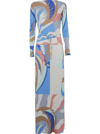 Emilio Pucci Graphic Print Belted Long Dress