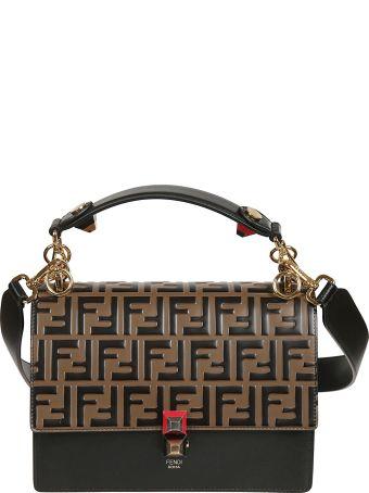 Fendi Embossed Double F Logo Shoulder Bag