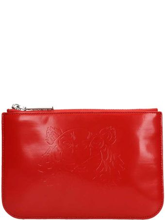 Kenzo Red Leather Tiger Clutch Bag