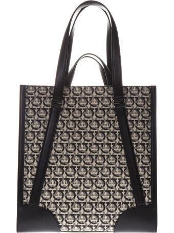 Salvatore Ferragamo Beige And Black Monogram Print Tote Bag In Leather