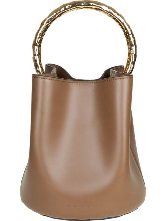 Marni Pannier Hand Bag In Leather With Golden Metal Handle