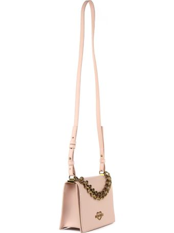 Love Moschino Pink Faux Leather Chain Hearts Bag