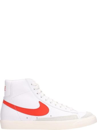 Nike Blazer Mid 77 White And Red Leather Sneakers