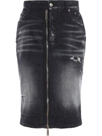 Dsquared2 Zip Detail Denim Skirt