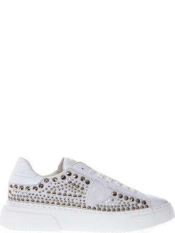 Philippe Model Temple White Leather Studded Sneakers