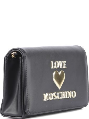 Love Moschino Black Faux Leather Logo Bag