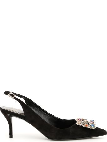 Roger Vivier Flower Strass Buckle 65 Slingbacks