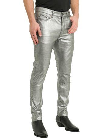 Saint Laurent Laminated Silver Jeans
