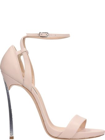 Casadei Nude Leather Blade Sandals