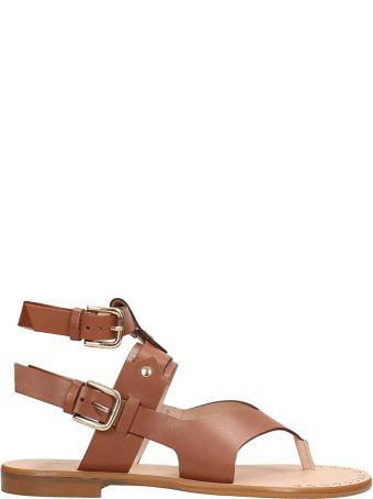 Sarah Summer Browne Leather Flats Sandals